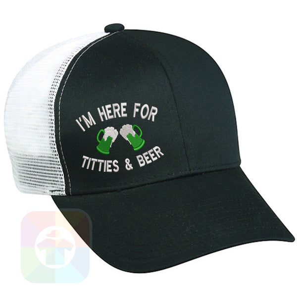 "A BLACK / WHITE MESH Hat with the  ' OutdoorCap Snapback Structured Baseball Mesh Hat with "" ST. PATRICS DAY IRISH BEER 4 LEAF CLOVER "" design on it. #2262"