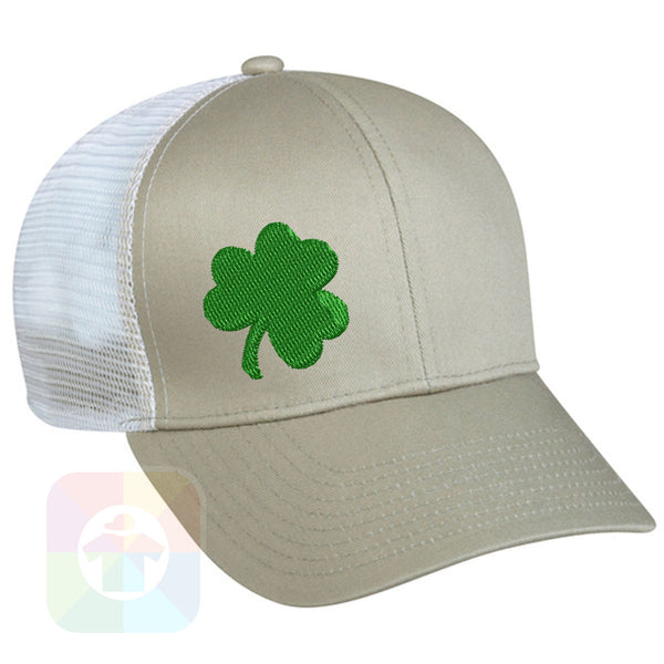 "A BLACK / WHITE MESH Hat with the  ' OutdoorCap Snapback Structured Baseball Mesh Hat with "" ST. PATRICS DAY 4 LEAF CLOVER "" design on it. #2263"