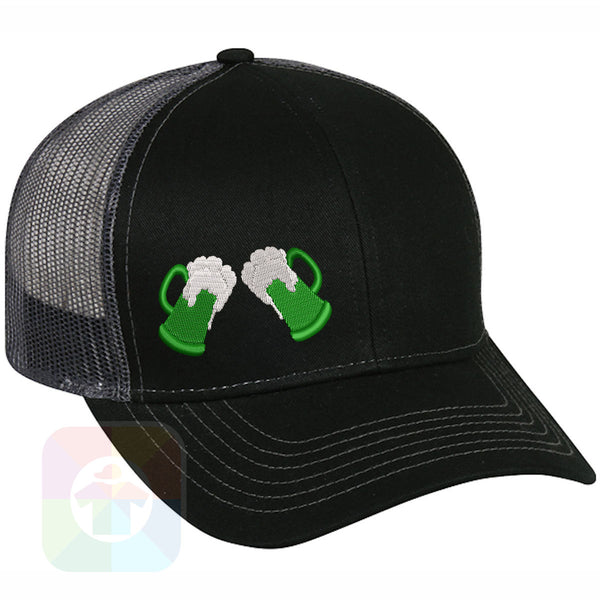 "A BLACK / WHITE MESH Hat with the  ' OutdoorCap Snapback Structured Baseball Mesh Hat with "" ST. PATRICS DAY IRISH BEER BOTTLESEMB "" design on it. #2264"