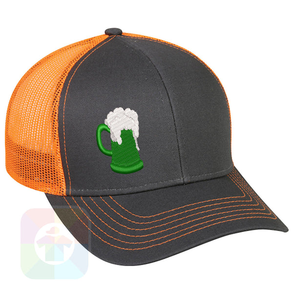 "A BLACK / WHITE MESH Hat with the  ' OutdoorCap Snapback Structured Baseball Mesh Hat with "" ST. PATRICS DAY IRISH BEER BOTTLE "" design on it. #2265"