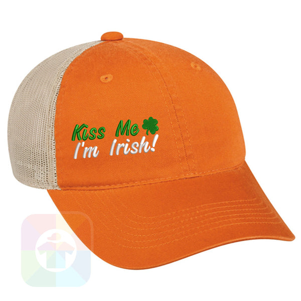 "A Charcoal / Neon Green Mesh Hat with the  ' OutdoorCap Unstructured Velcro Baseball Mesh Dad Hat with "" ST. PATRICS DAY KISS ME 4 LEAF CLOVER "" design on it. #2266"
