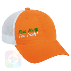 A Orange / White Mesh Hat with the  ' OutdoorCap Unstructured Velcro Baseball Mesh Dad Hat with
