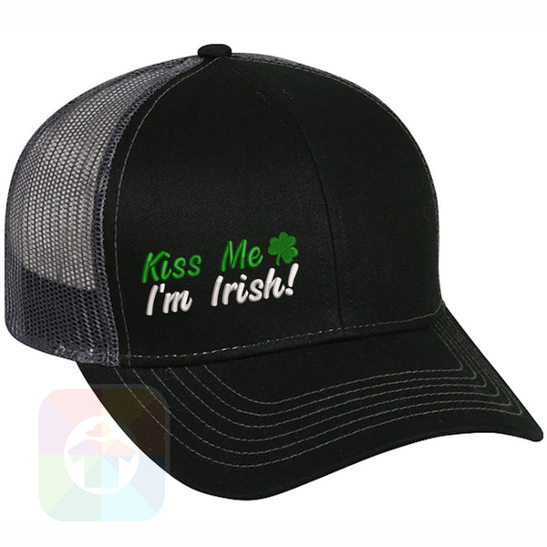 "A BLACK / WHITE MESH Hat with the  ' OutdoorCap Snapback Structured Baseball Mesh Hat with "" ST. PATRICS DAY KISS ME 4 LEAF CLOVER "" design on it. #2266"