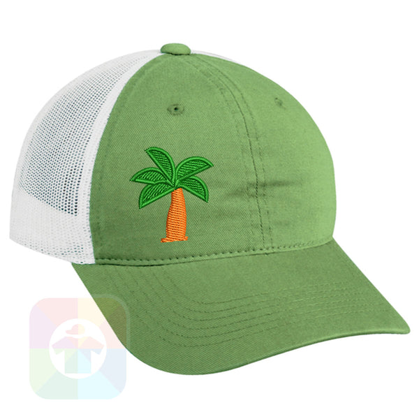 "A Charcoal / Neon Green Mesh Hat with the  ' OutdoorCap Unstructured Velcro Baseball Mesh Dad Hat with "" PALM TREE "" design on it. #2267"