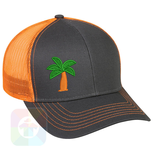 "A BLACK / WHITE MESH Hat with the  ' OutdoorCap Snapback Structured Baseball Mesh Hat with "" PALM TREE "" design on it. #2267"