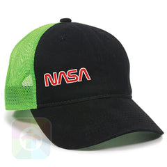 A Black / Neon Green Mesh Hat with the  ' OutdoorCap Unstructured Velcro Baseball Mesh Dad Hat with