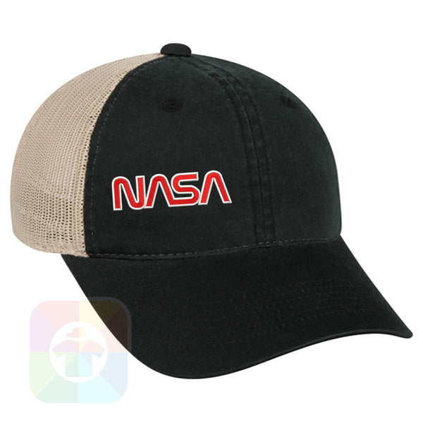 "A Charcoal / Neon Green Mesh Hat with the  ' OutdoorCap Unstructured Velcro Baseball Mesh Dad Hat with "" NASA "" design on it. #2268"