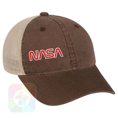 A Brown / Tan Mesh Hat with the  ' OutdoorCap Unstructured Velcro Baseball Mesh Dad Hat with