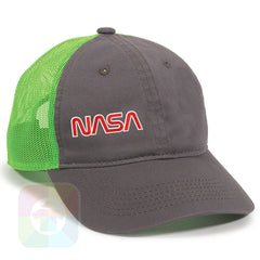 A Charcoal / Neon Green Mesh Hat with the  ' OutdoorCap Unstructured Velcro Baseball Mesh Dad Hat with