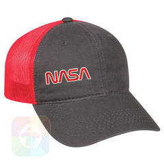 A Charcoal / Neon Red Mesh Hat with the  ' OutdoorCap Unstructured Velcro Baseball Mesh Dad Hat with