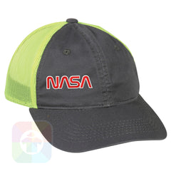 A Charcoal / Neon Yellow Mesh Hat with the  ' OutdoorCap Unstructured Velcro Baseball Mesh Dad Hat with