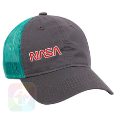 A Charcoal / Teal Mesh Hat with the  ' OutdoorCap Unstructured Velcro Baseball Mesh Dad Hat with