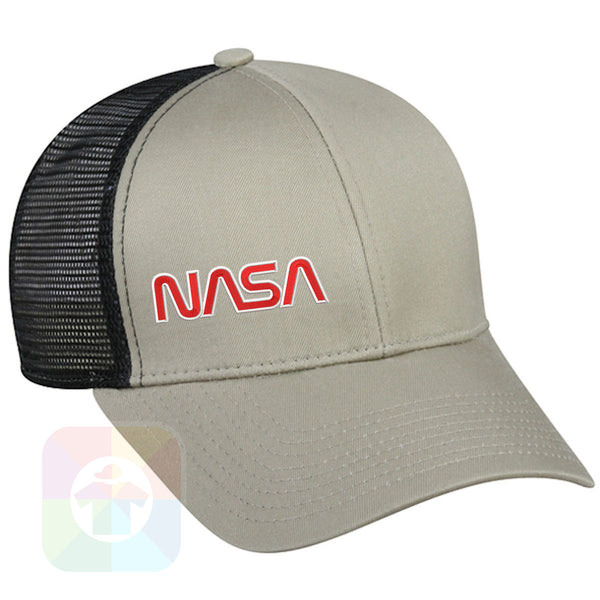 "A BLACK / WHITE MESH Hat with the  ' OutdoorCap Snapback Structured Baseball Mesh Hat with "" NASA "" design on it. #2268"