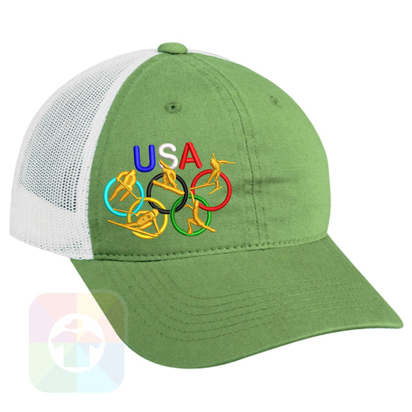 "A Charcoal / Neon Green Mesh Hat with the  ' OutdoorCap Unstructured Velcro Baseball Mesh Dad Hat with "" OLYMPICS USA "" design on it. #2269"