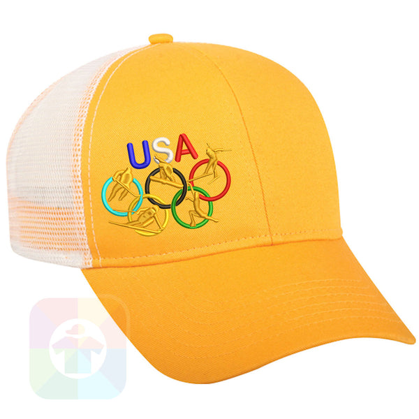 "A BLACK / WHITE MESH Hat with the  ' OutdoorCap Snapback Structured Baseball Mesh Hat with "" OLYMPICS USA "" design on it. #2269"