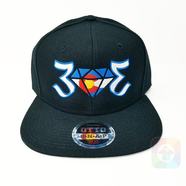 303 Colorado Flag Diamond Flat Six Panel Pro Style Snapback OttoCap #1862