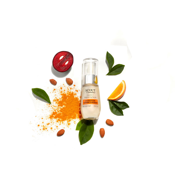 SCOUT anti-aging Vitamin C Brightening Serum with Kakadu Plum, Turmeric & Rosehip for radiant skin. Certified organic Kakadu Plum and packed with anti-oxidants