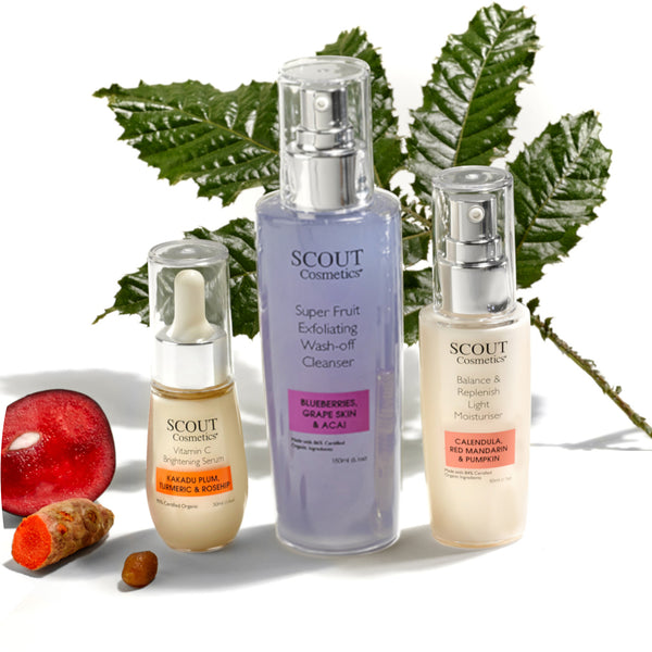 SCOUT Organic Active Beauty - Daily Fitness Kit for Men: Simple 3-Step Skincare Routine
