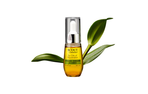 SCOUT Anti-aging face Oil is certified organic and contains Avocado , Rosemary , Carrot's Beta Carotene Evening Primrose, Sweet Almond and Sunflower.