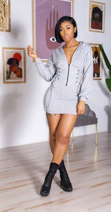 Casual Slay Mini Dress (Grey)