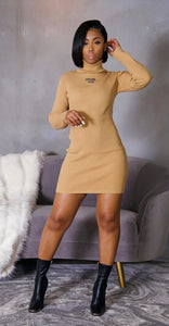 Snuggle Up Mini Dress (Taupe)