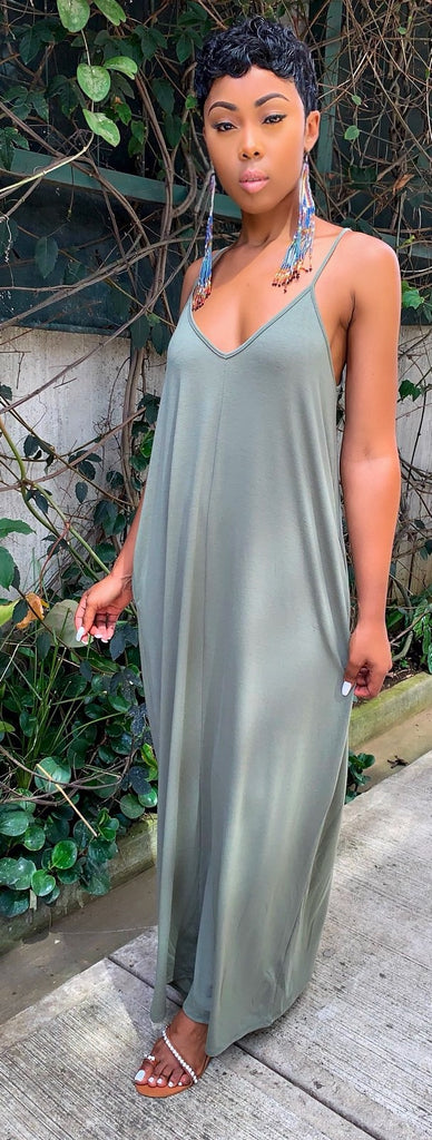 Maxi Dress SZN (Light Olive) - MuurSwagg