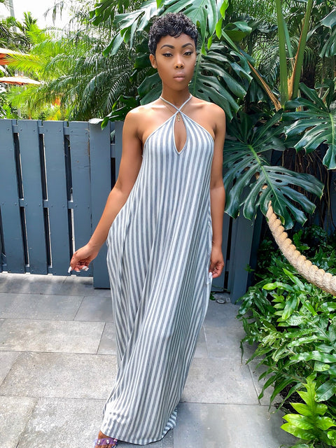 Maxi Dress SZN (Heather Gray Stripes) - MuurSwagg