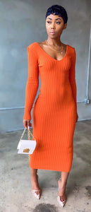 Enticing Midi Dress (Rust Orange)