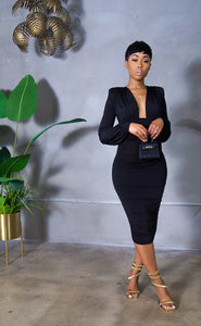 Black Excellence Midi Dress