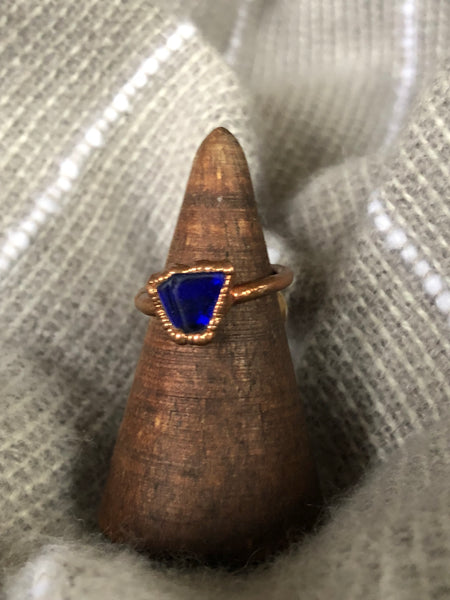 Vivid Blue Seaglass Ring size 4.75