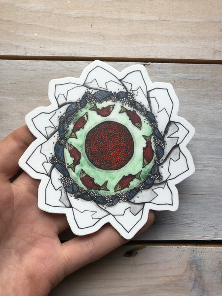 Hailey Morgan Art sticker - salmon cycle