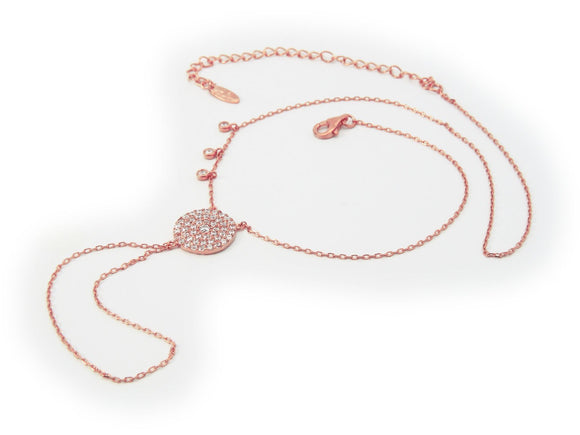 Rose Gold  'Bali' Hand Chain & Necklace, 16