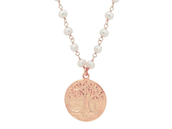Pink Tree of Life & Pearls Necklace