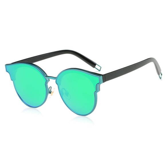 Oversized, Cateye Sunglasses with Flat Mirror Lens