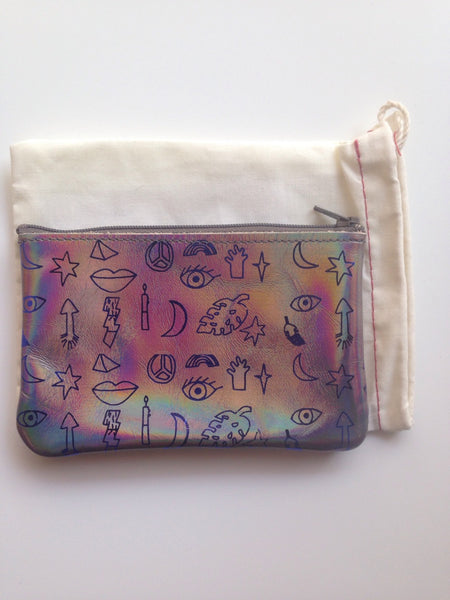 TT Collab Pouch - party pattern - dove hologram