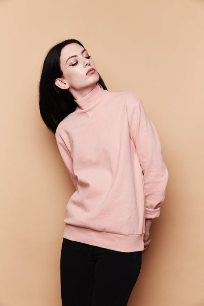 Mock Neck Sweater - Blush