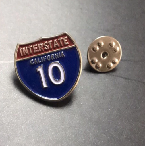 Interstate 10 Freeway Enamel Pin
