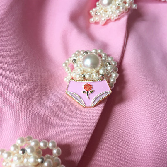 "Dainty Rose Underwear 1"" Enamel Lapel Pin"