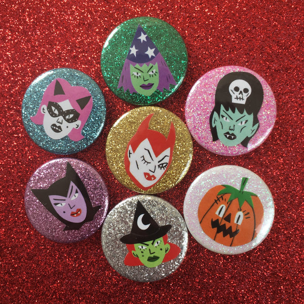 25mm Spooky Glitter Badges