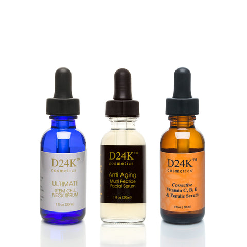 Complete D24K Serum Collection - Ultimate Stem Cell Neck Serum / Corrective Vitamin C,B,E & Ferulic Serum / Anti Aging Multi-Peptide Facial Serum
