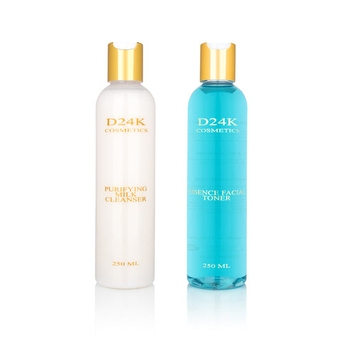 Skin Care Cleansing Set - Alcohol-Free Toner and Purifying Milk Cleanser