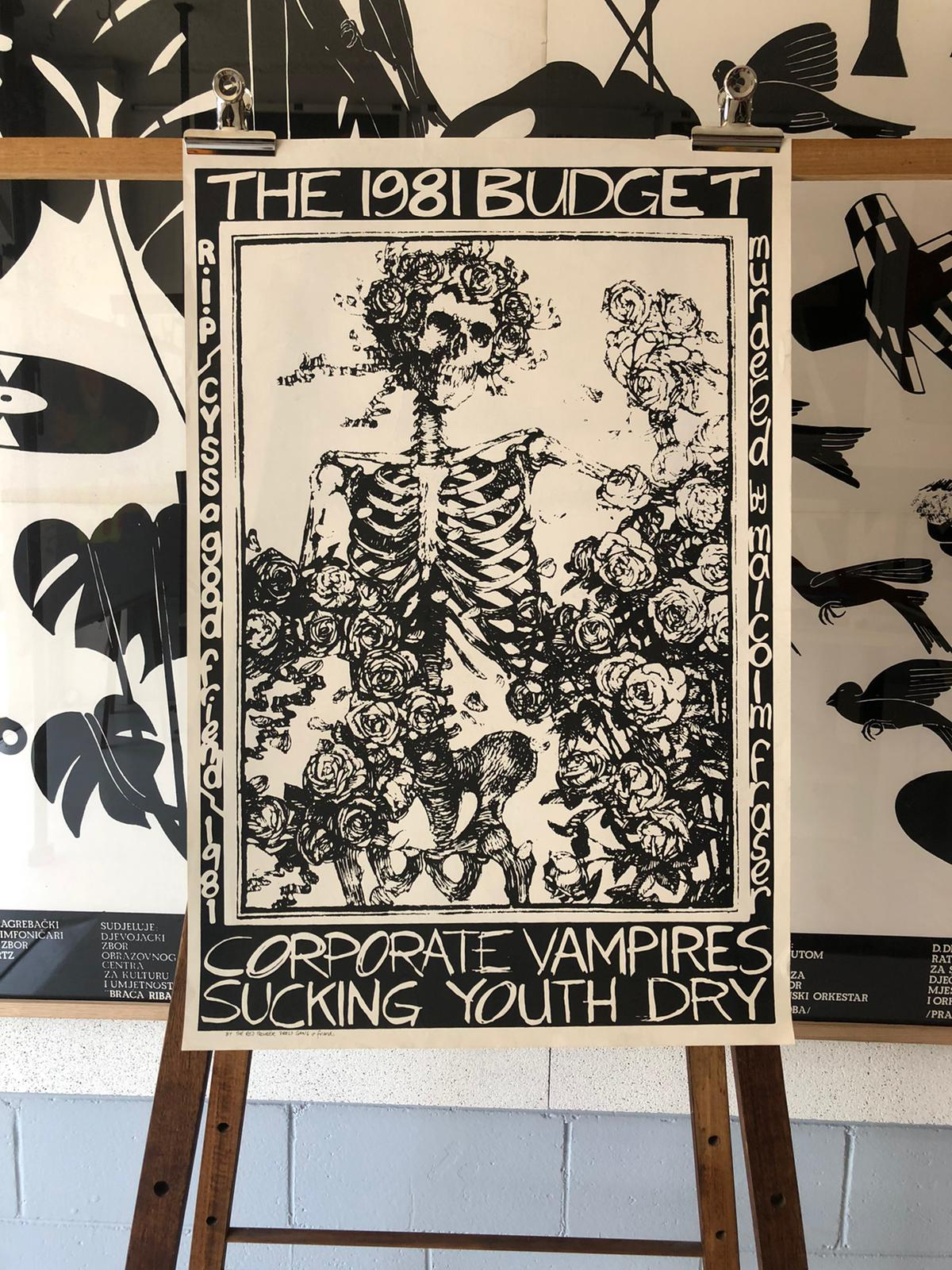 'Corporate Vampires Sucking Youth Dry' 1981 Budget Protest Lithograph