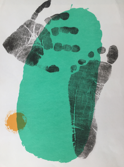 Untitled (Foot and hand print on green) by Joan Miro