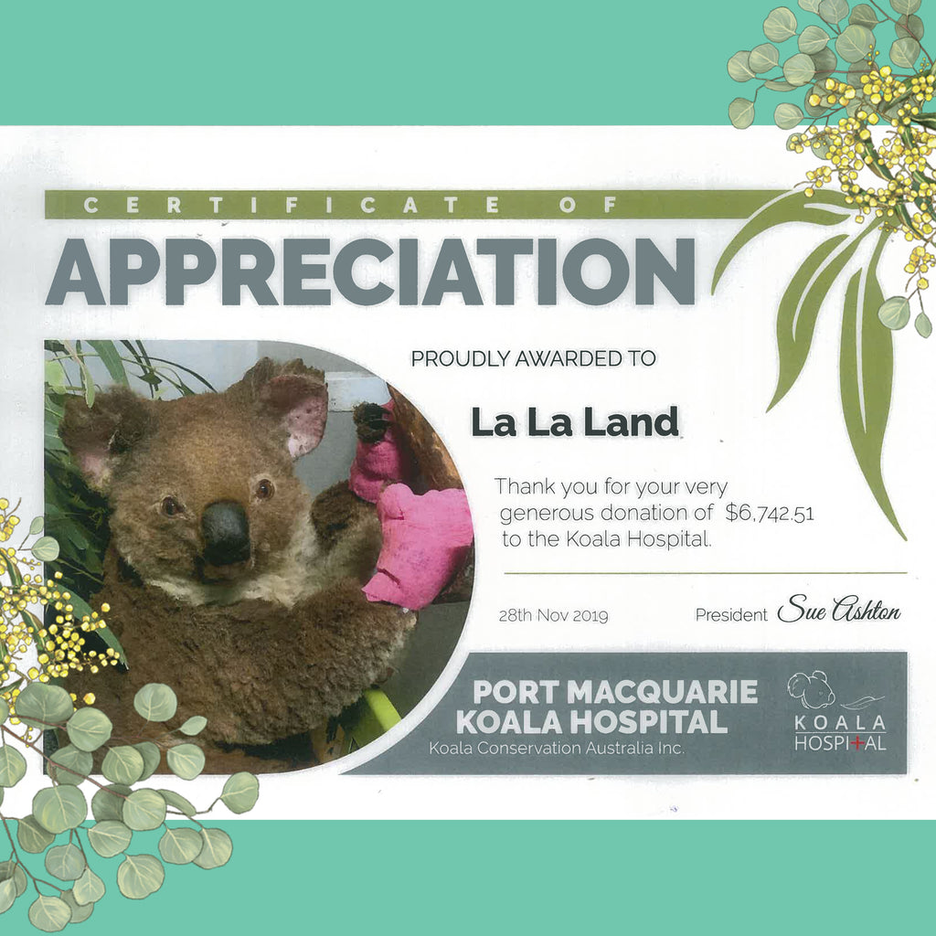 Certificate of appreciation: Port Macquarie Koala Hospital