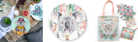 Koala collectables: Fireman plate, Eucalyptus Koala plate and Koala tote bag