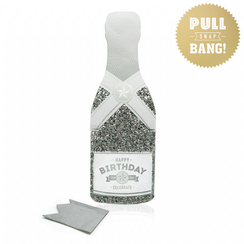 Champagne Card Happy Birthday Flitter Silver