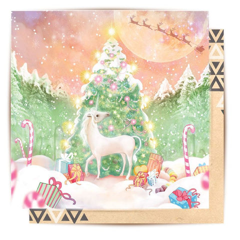 Greeting Card Unicorn Christmas Scene