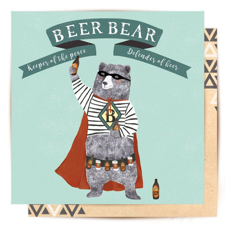 Greeting Card Beer Bear