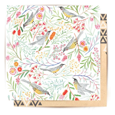 Greeting Card Birds and Wattle