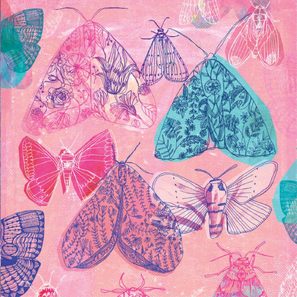 Greeting Card Floral Moths